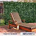 "Windscreen4less Artificial Faux Ivy Leaf Decorative Fence Screen 58.5"" x 196"" Ivy Leaf Decorative Fence Screen"