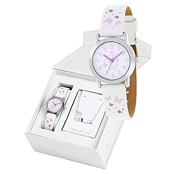 Conjunto reloj marea niña b35284/4 y nomeolvides plata de ley: Amazon.es: Relojes