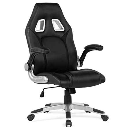 Review Belleze Racing High Back Office Chair Faux Leather Computer Desk Gaming Swivel Wheel Seat, Black