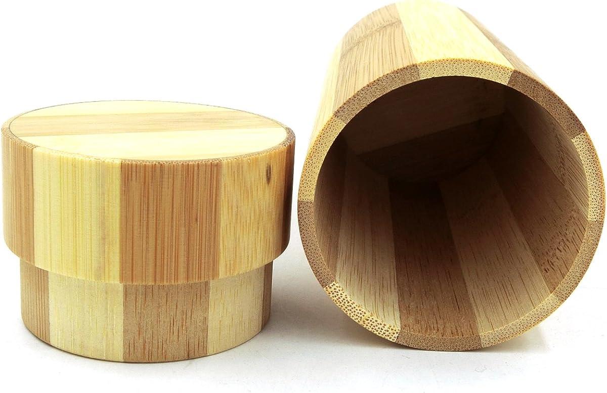 Hard Sunglasses Case Premium Natural Bamboo Cylinder Holder Dark Brown Wood Case