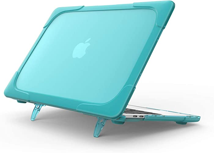 ProCase MacBook Air 13 Inch Case 2020 2019 2018 Release A2179 A1932, Heavy Duty Slim Hard Shell Dual Layer Protective Cover with Fold Kickstand for Apple MacBook Air 13 Retina with Touch ID -Lightblue