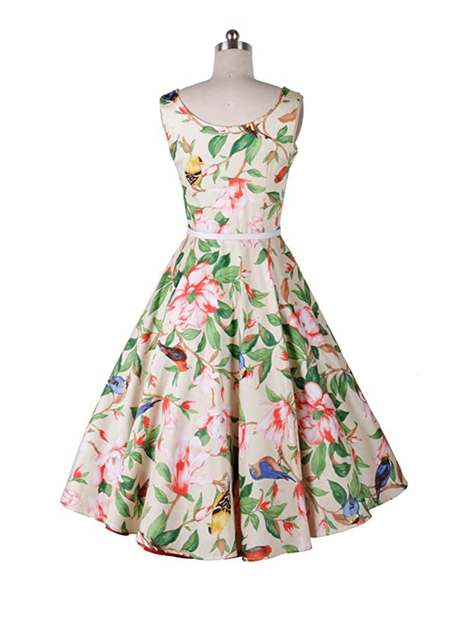 Babyonline Vintage 1950s Audrey Hepburn Style Floral Rockabilly Picnic Party Prom Dress, Size XXL: Amazon.co.uk: Clothing