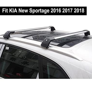 Fit for KIA New Sportage 2016 2017 2018 Lockable Baggage Luggage Racks Roof Racks Rail Cross Bar Crossbar - Silver