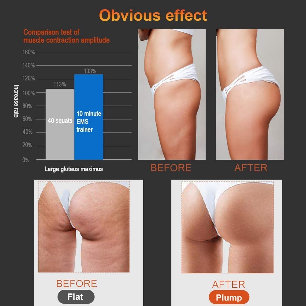Easy Butt Fitness for Men Women Aooeou Buttocks Weight Loss Device Muscles Toner Exerciser EMS Hip Trainer Muscle Stimulator 6 Modes 15 Intensity Machine Smart Wearable Training Buttock