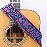 CLOUDMUSIC Guitar Strap Jacquard Weave Strap With Leather Ends Vintage Classical Pattern Design