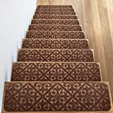 Elogio Carpet Stair Treads Set of 13 Non Slip/Skid Rubber Runner Mats or Rug Tread - Indoor Outdoor Pet Dog Stair Treads Pads - Non-Slip Stairway Carpet Rugs (Brown) 8' x 30' Includes Adhesive Tape