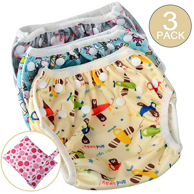 cbec9006d9 Image Unavailable. Image not available for. Color: Moonvvin 3pcs Summer  Baby Swimwear Diaper Newborn Swim Trunks with Waterproof Infant Diaper Bag
