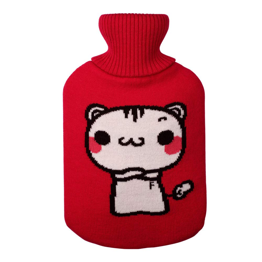 Amaping Soft Knitting Cute Hot Water Bottle Cover for Large 2 Liter Kids Women Baby Foot Hands Keeping Warm (Red)