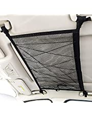 Car Ceiling Cargo Net Pocket, 90cmx65cm Adjustable Double-Layer Mesh SUV Roof Organizer Long Trip Storage Bag, Tent Putting Quilt Children's Toy Towel Sundries Interior Accessories