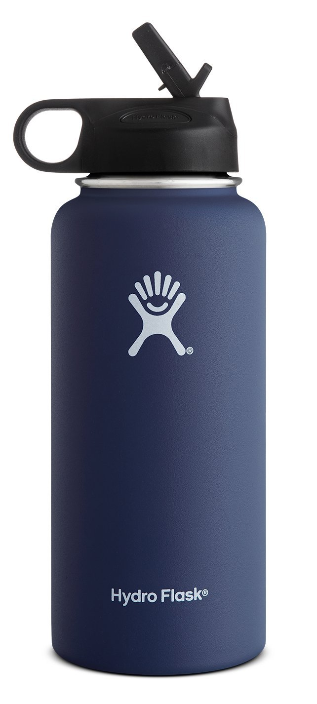 Hydro Flask Vacuum Insulated Stainless Steel Water Bottle Wide Mouth with Straw Lid (Cobalt, 32-Ounce) by Hydro Flask