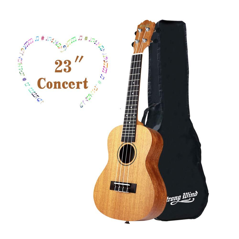 Ukulele Mahogany Ukuleles for Beginner Ukulele Pack Concert Ukulele Starter Kid Guitar 23 Inch Uke for Kids Student and Adult with Gig Bag by Strong Wind