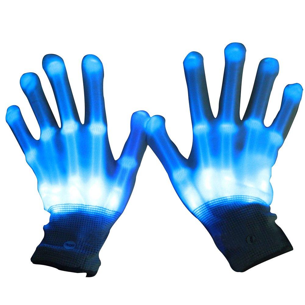 1 Par Guantes con iluminación LED, Brillantes intermitentes algodón dedo guantes de mano de luces colorida para bailar carnaval concierto Halloween Party (Azul) Gosear