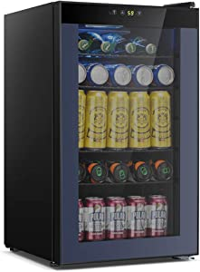 OKADA Beverage Refrigerator or Wine Cooler 85 Cans or 24 Bottles with Glass Door for Beer, Soda or Wine Mini Fridge Used Under Counter in the Room, Office or Bar Drink Freezer for Party