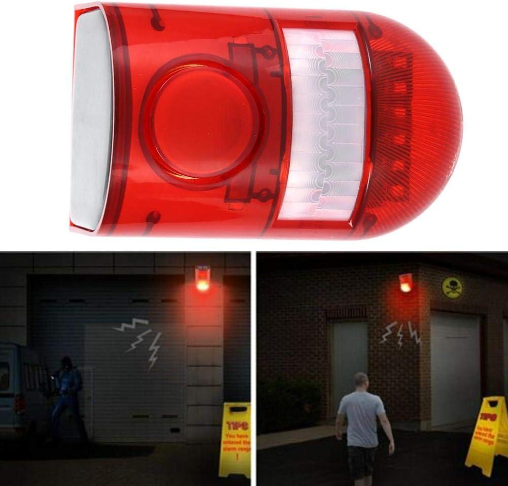 Apartamento y Patio Al Aire Libre 110 dB Solar Luz de Alarma de Seguridad con Sensor de Movimiento Impermeable Luces de Advertencia de Sonido y Luz para Granja Villa