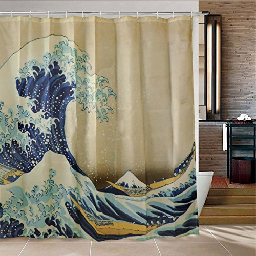 Bathroom Shower Curtain Wave Shower Curtain Durable Bath Curtain, The Great Wave Off Kanagawa by Katsushika Hokusai Shower Curtain Thirty-six Views of Mount Fuji Bathroom Curtain by Martine Mall