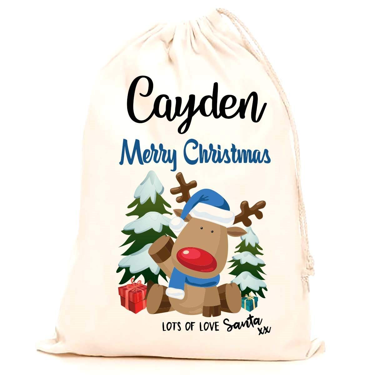 Treat Me Suite Cayden personalised name Christmas santa sack, stocking printed with a blue reindeer (75x50cm) 100% Cotton Large. Children, Kids, making it the perfect keepsake xmas gift/present. CS Printing Limited