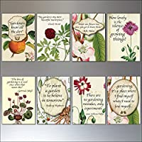 Gardening inspiration quotes Victorian botanical prints fridge magnets set of 8