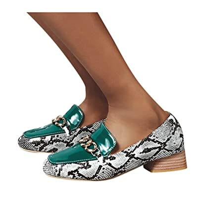 YiYLunneo Women's Leisure Square Heel Single Shoes Ladies Dressing Shoes Buckle Snake Pattern Shoes Casual Boat Loafer: Clothing