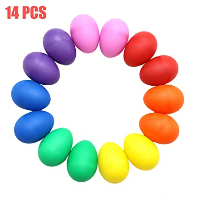 AQUEENLY Egg Shakers Set, 14 PCS Maracas Eggs Plastic Percussion Musical Egg for Party Supplies Toys, 7 Colors: Arts, Crafts & Sewing