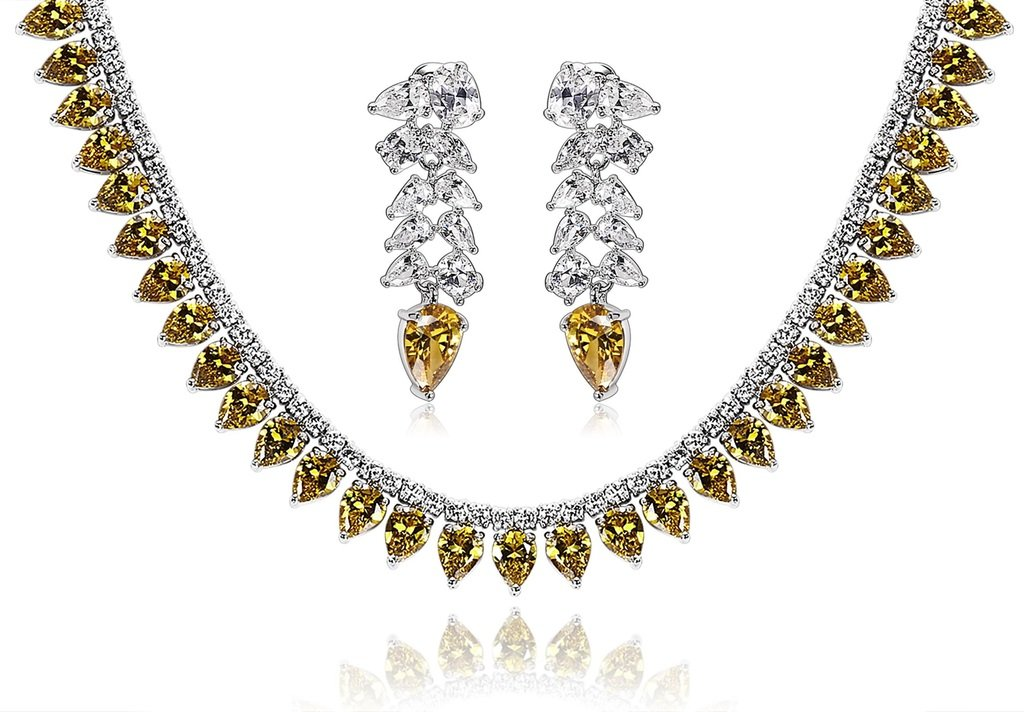 KnSam Women Platinum Plate Waterdrop Yellow Necklace Earrings Set Crystal [Novelty Bridal Jewelry Set]