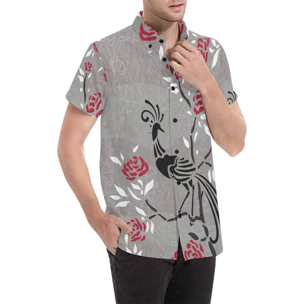 InterestPrint Mens Stand Collar Floral Flowers Grey Beach Short Sleeve Summer Button Down Tops Tees Blouses