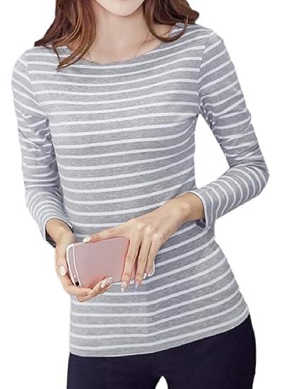CBTLVSN Womens s Slim Cuello Camiseta Larga Redondo Manga Blusa Tee ...