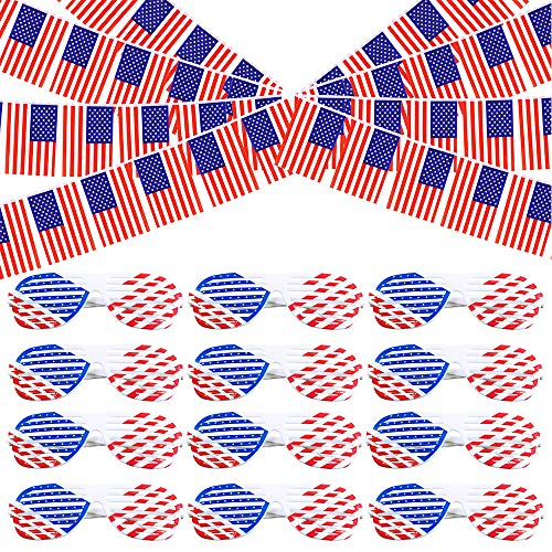 Supla 13 Pack Patriotic American Flag Banner String USA Pennant Flags Banner and Patriotic Shutter Glasses Shades Sunglasses Eyewear American Flag Design Plastic USA Shutter Shades for 4th of July Memorial Day Patriotic Celebration