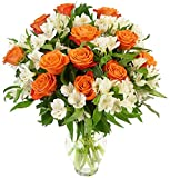Benchmark Bouquets Dazzling Roses and Alstroemeria, With Vase