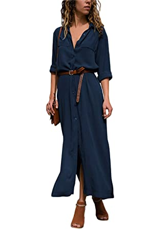 0e813a5b50 Lovezesent Women Long Sleeve Button Down Split Casual Maxi Shirt Dress with  Belt at Amazon Women s Clothing store