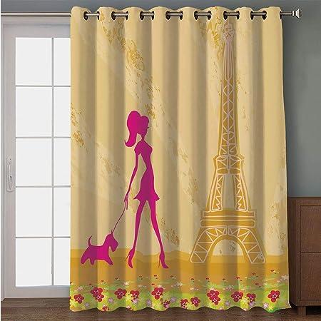 Cortina para puerta de patio opaca, decoración de habitación de ...