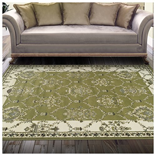 Superior Stratton Collection Area Rug, 8mm Pile Height with Jute Backing, Luxurious French Traditional Aubusson Rug Design, Fashionable and Affordable Woven Rugs - 5' x 8' (Traditional Chic Green)