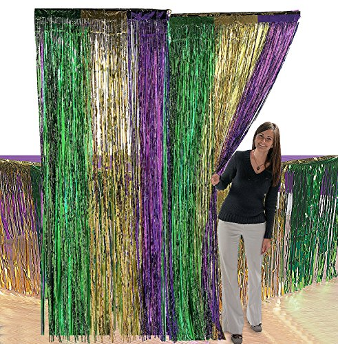 Foil Mardi Gras Fringe Door Curtain with Metallic Fringe Table Skirt, Great Mardi Gras Party Decoration, The Perfect Mardi Gras Décor, by 4E's Novelty