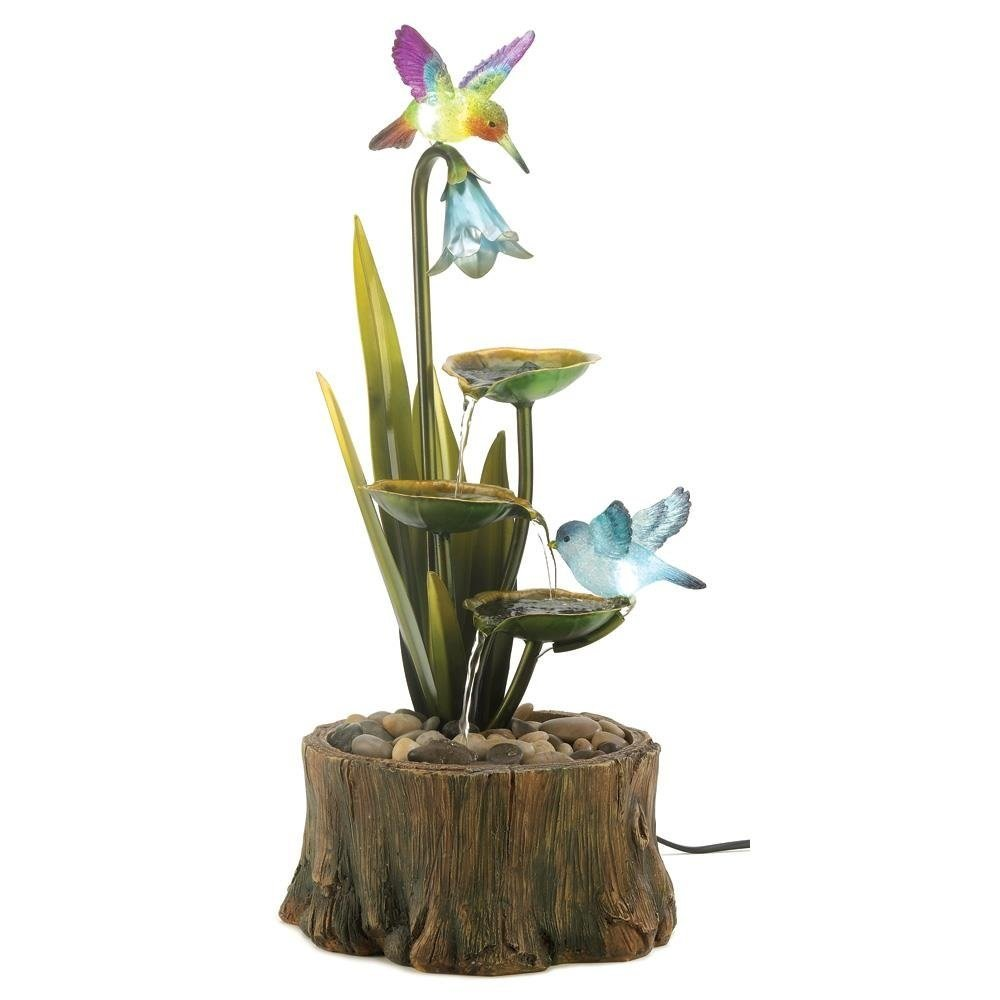 Tabletop Fountain, Modern Hummingbird Garden Water Fountains With Led Lighting