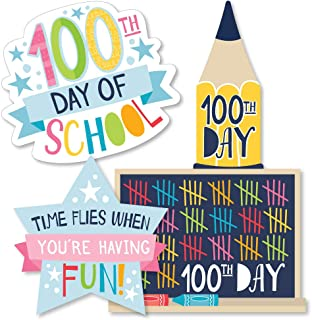 product image for Big Dot of Happiness Happy 100th Day of School - Pencil, Chalkboard and Star Decorations DIY 100 Days Party Essentials - Set of 20