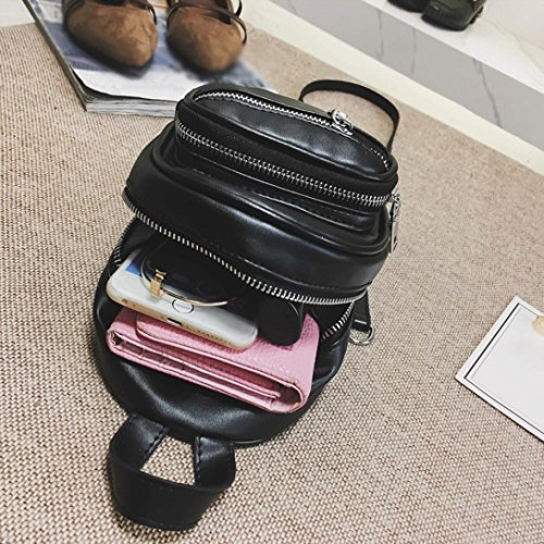 Women Girls Fashion Leather Crossbody Bag School Bag Backpack Satchel Large Tote Trave Chest Bag Zipper by SHL (Image #5)