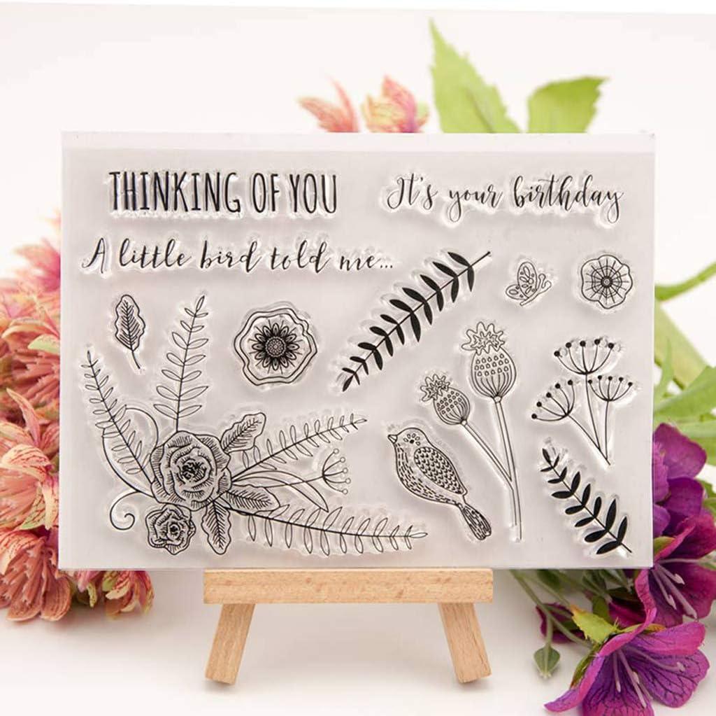 Flower Bird LANDUM Clear Stamp Transparent Stamp Silicone Stamp DIY Scrapbooking Embossing Paper Cards Home Decor