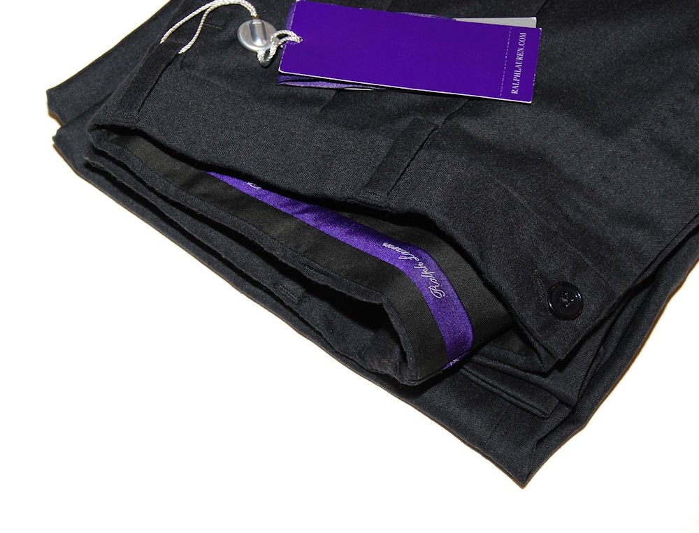 Ralph Lauren Purple Label Mens Pleated Fine Wool Polo Dress Pants Italy Black (40)