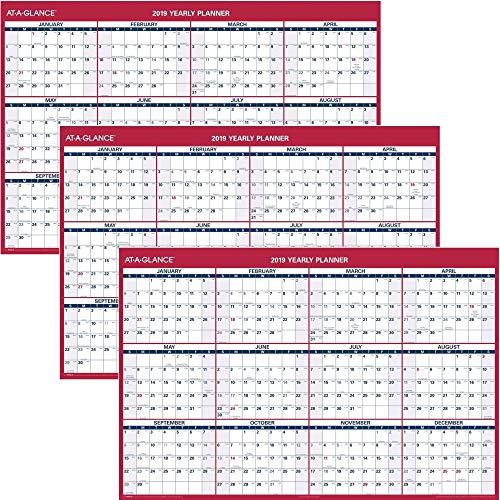 AT-A-GLANCE 2019 Wall Calendar, 48 x 32, Jumbo, Erasable, Dry Erase, Reversible, Vertical/Horizontal 3 Pack