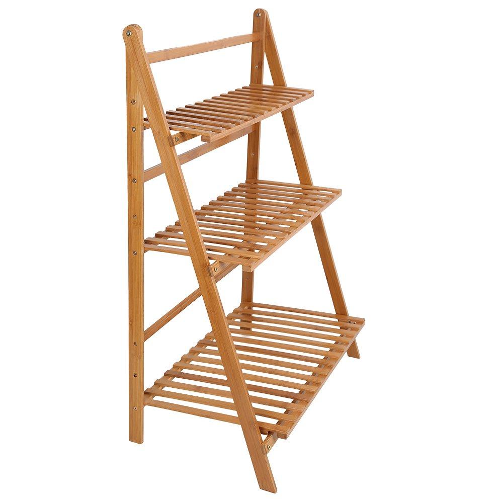 Ogori Bamboo Wood Ladder Plant Stand 3-Tier Foldable Organizer Flower Display Shelf Rack for Home Patio Lawn Garden Balcony Holder
