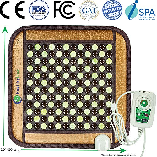 HealthyLine Infrared Heating Pad - Natural Healing Jade and Tourmaline Pebbles - Back Pain Relief, Neck Shoulder, Feet, Sciatica, Arthritis, Cramp Pain - 20in X 20in (Firm) Travel Bag Included