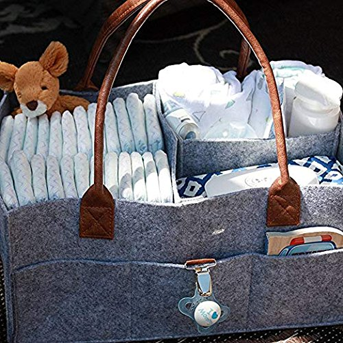 Baby Diaper Caddy Organizer, Foldable Felt Storage Bag Portable Lightly Multifunction Changeable Compartments for Mom Newborn Kids Nappie Grey Changlesu
