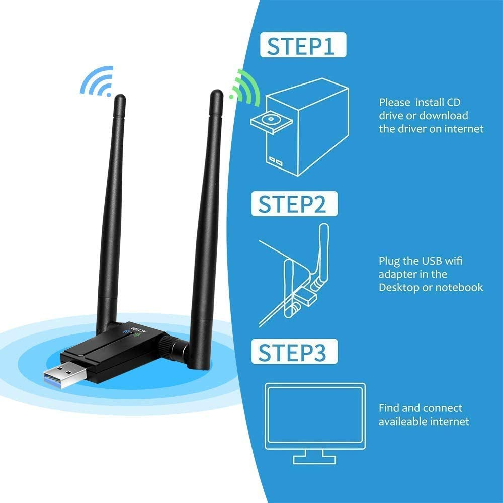 SP-Cow Antena WiFi 1200Mbps Adaptador WiFi USB 3.0 WiFi Adapter 5dBi Receptor 802.11ac WiFi Dual Band (5.8G/867Mbps 2.4G/300Mbps) para ...