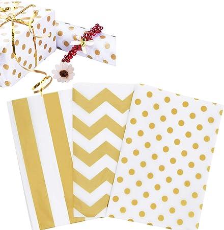 Packpapier mit Goldstreifen zum Basteln//zur Dekoration f/ür Weihnachten Geschenk Geburtstag Hochzeit Taufe Geschenkpapier mit Goldstern 60 Stck Packpapier Geschenkpapier mit Golden Punktmuster
