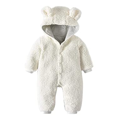50046188c Pollyhb Baby Faux Fur Warm Romper, Baby Boys Girls Cartoon Bear Ears Hooded  Romper (