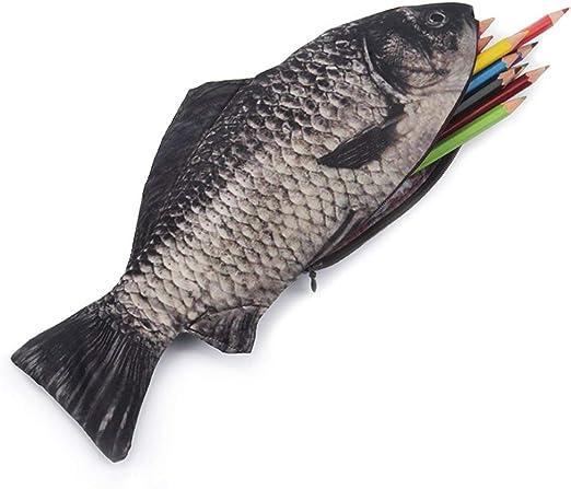 Uteruik - Estuche para lápices, bolígrafos y maquillaje 3D con cremallera, diseño de pez: Amazon.es: Hogar