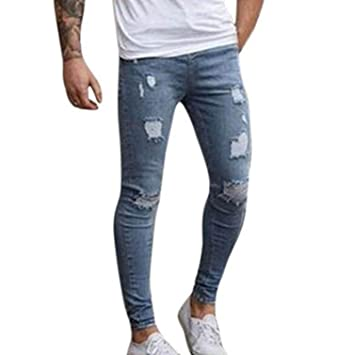 LILICAT® Pantalones Vaqueros Rotos Hombre, Jeans Pantalones Vaqueros Elásticos Skinny Slim Fit Delgados, Pantalones Largos de Mezclilla de Cintura ...