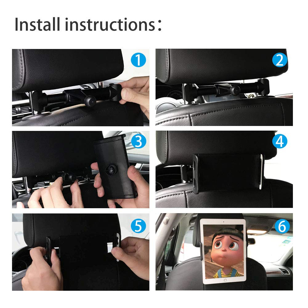 Universel pour tablettes iPads et Smartphones de 4 /à 11 Pouces Noir Rotation de 360 degr/és CLM-Tech Tablette Support pour Appui-t/ête de Voiture Support Tablette Voiture