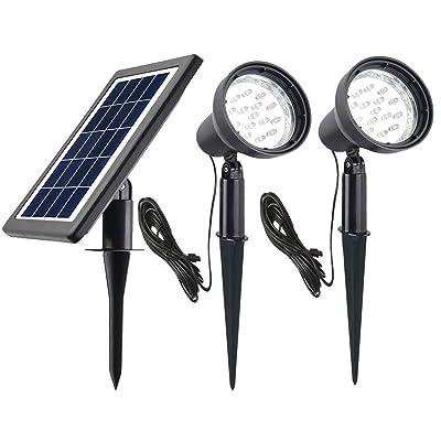 Ntsevsun Solar Spotlights, Power Adjustable, Waterproof Outdoor Solar Landscape Lights for Patio, Garden, Driveway, Pathway, Courtyard, Lawn (White) : Garden & Outdoor
