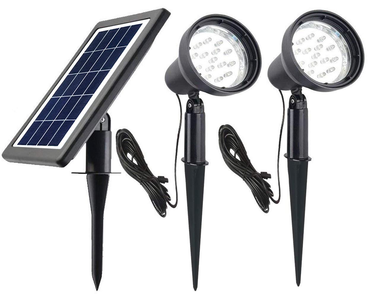 Ntsevsun Solar Spotlights, Power Adjustable, Waterproof Outdoor Solar Landscape Lights for Patio, Garden, Driveway, Pathway, Courtyard, Lawn (White)