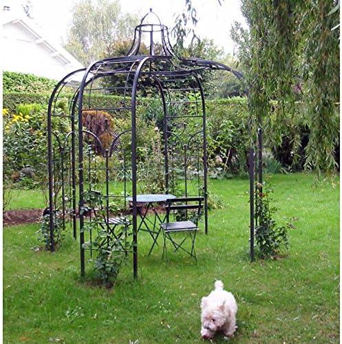 LHéritier Du Temps Gloriette Princess Medium cenador pérgola de jardín Refugio Redondo Hierro Forjado Pintura epoxy marrón Martillado 300 x 300 x 300 cm: Amazon.es: Jardín